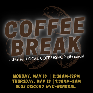 Illustration of coffee beans with text that reads :Coffee Break: Raffle for local coffeeshop gift cards!""